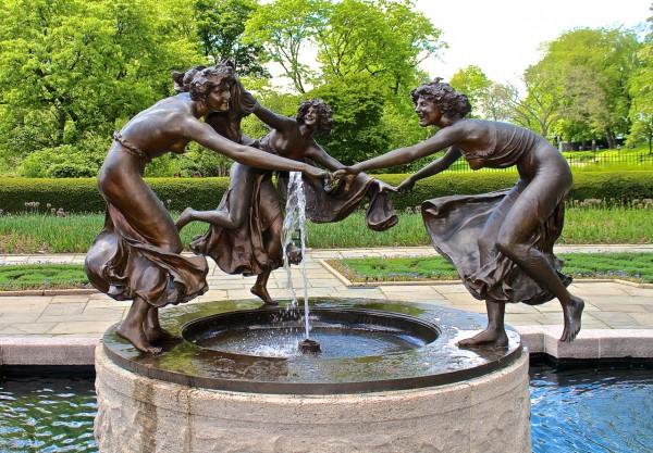 Tres bailarinas, jardín de invierno